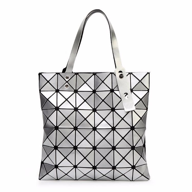 BaoBao Bag Female Folded Geometric Plaid Bag BAO BAO Fashion Casual Tote  Women Handbag Mochila Shoulder Bag Japan Quality Miyake Messenger Bags  Laptop Bags ... 4614d674d251b