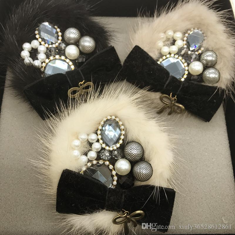 جديد وصول الكورية الأزياء الفاخرة اللؤلؤ زهرة 5 كبير الصدار الأسود التلبيب دبوس للنساء دعوى شارة دبابيس / broches / brosche / بالجملة شحن