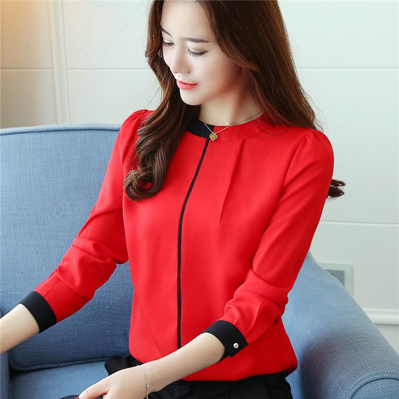 a2ae75c1d6723 2019 2017 New Autumn Korean Chiffon Shirt Fashion Stand Collar Long Sleeve  Blouse Slim Underwear Women Blouses From China ada