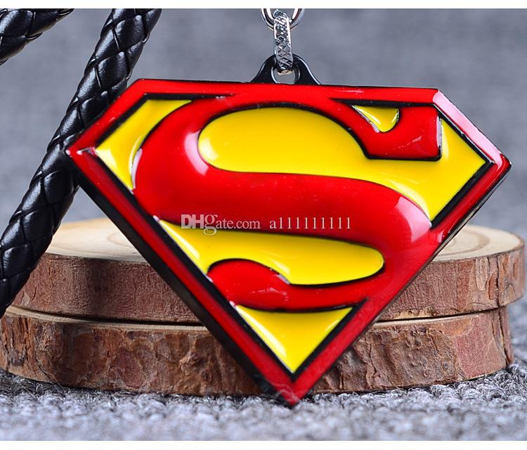 The Avengers Superman Logo Key Chain Alloy Pendant Fashion Hand Knit Leather Rope Keychain Superhero Cartoon Jewelry Gift