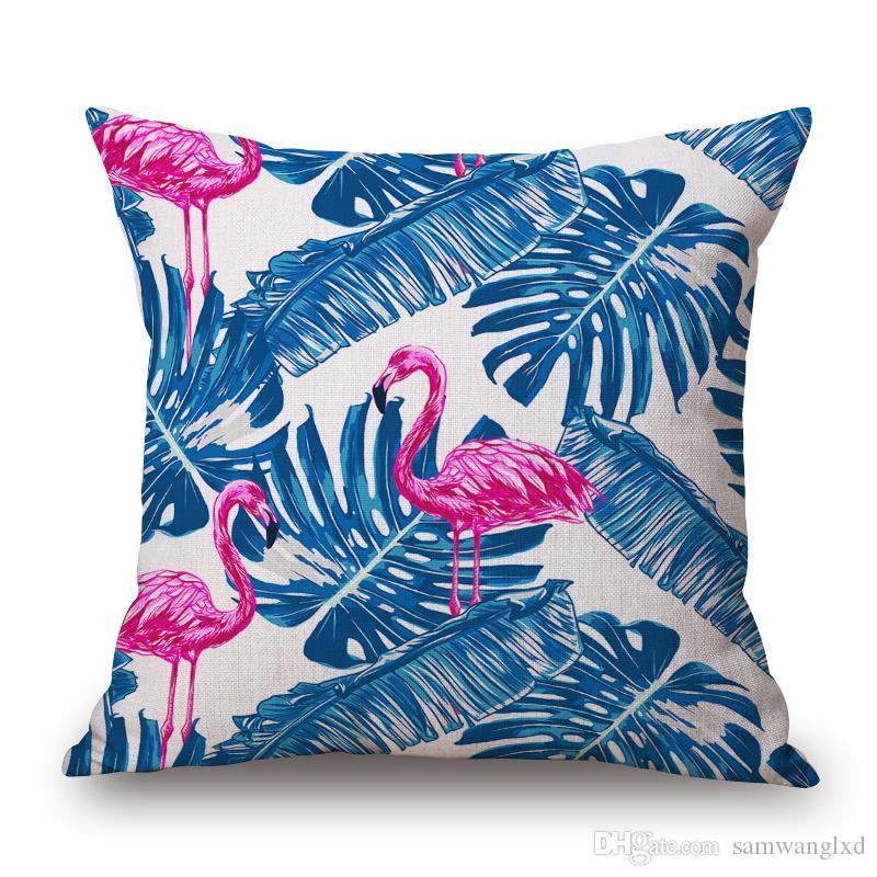Flamingo Pattern Cotton Linen Throw Pillow Cushion Cover Seat Car Home Decoration Sofa Decor Decorative Pillowcase