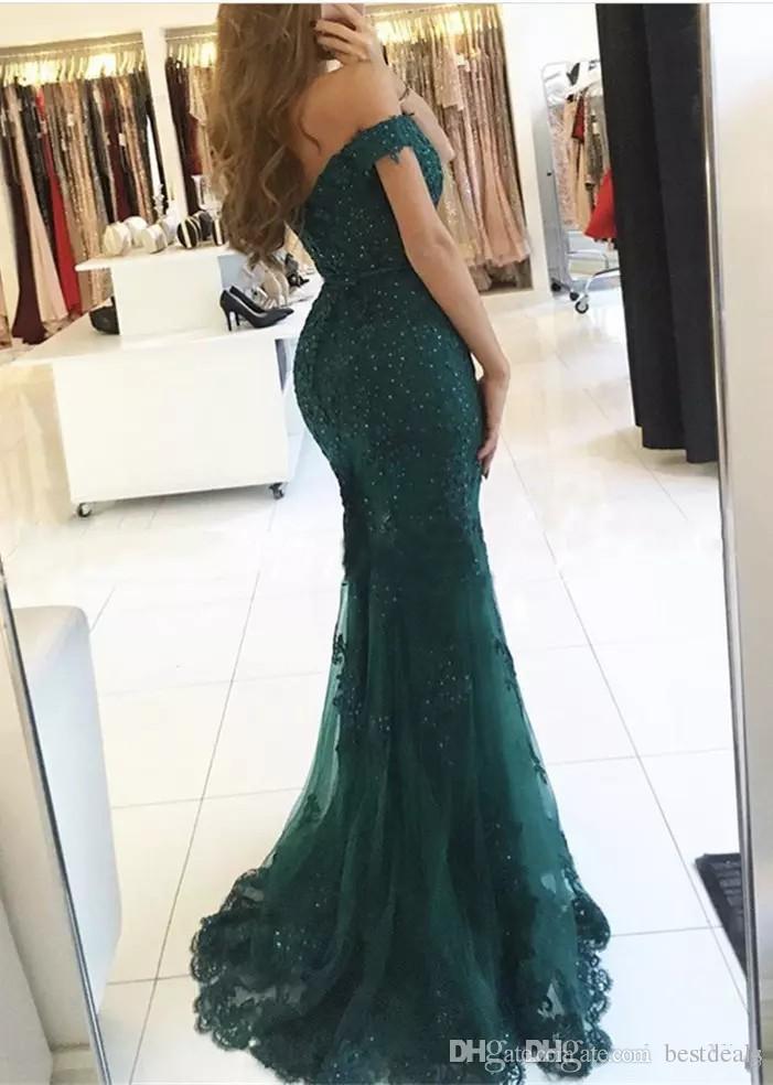 Elegante color borgoña fuera del hombro Sirena de encaje con cuentas Vestidos de baile 2019 Mangas cortas Longitud del piso Vestidos de noche formales Vestido de Fiesta