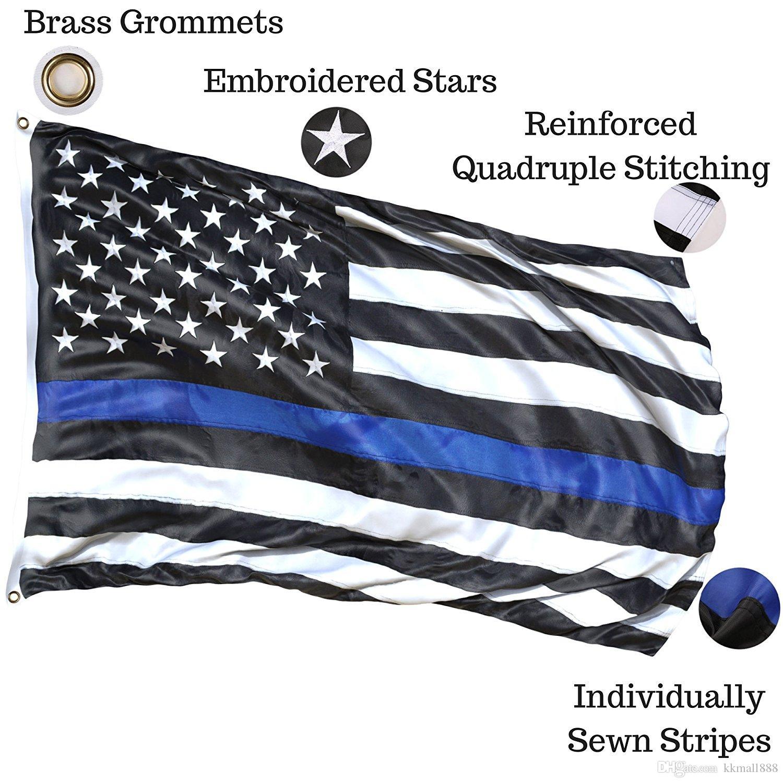 Dünne blaue Linie Flagge - 3 x 5 ft gestickte Sterne genäht Streifen robuste Messing Ösen für die amerikanische Polizei Flagge ehren Strafverfolgungsbehörden