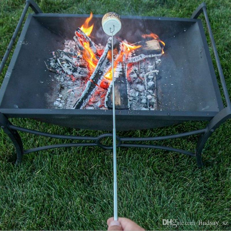BBQ Forks Camping Campfire Acero inoxidable Campground Lunch Tools Mango de madera Telescópico Barbacoa Tostado Fork Sticks Pinchos rápido