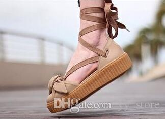 a33468547301c2 Rihanna Fenty Bow Creeper Sandal For Womens Slippers Riband Size 36 40 With  Box Women S Shoes Outdoor Sandals Fenty Real Leather Cheap Sandals Summer  ...