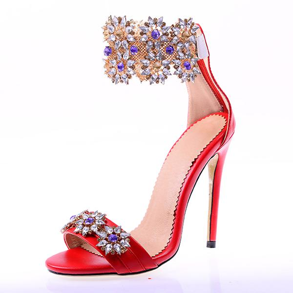 wedding shoes for women 2018 summer shoes sexy sandals 12cm high heels cover heel ankle strap plus size open toe rhinestone stilettos woman
