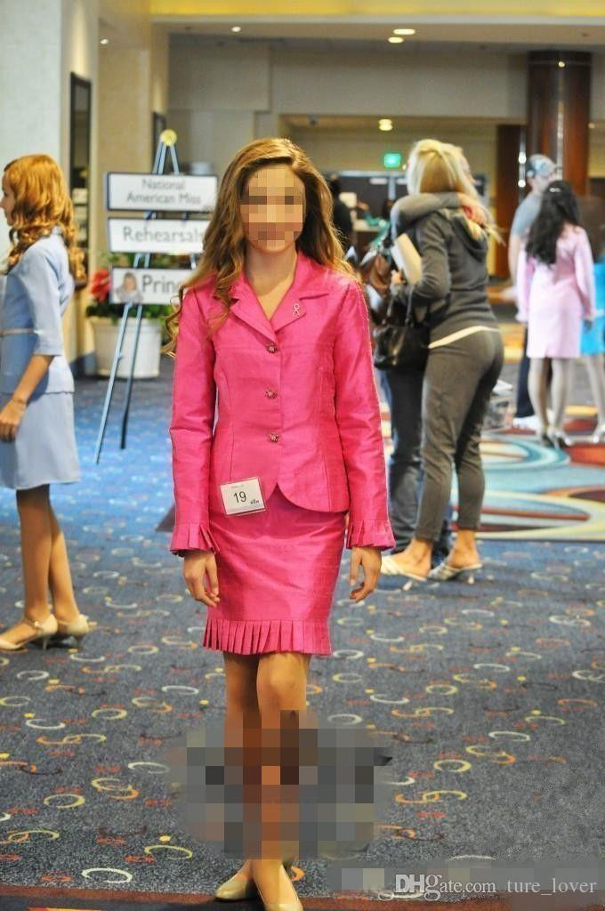 2019 Vestidos para niñas pequeñas Trajes de entrevistas nacionales Ropa formal personalizada para niñas Vestidos cortos para niños Vestidos de baile para niños Adolescentes Dos tarta