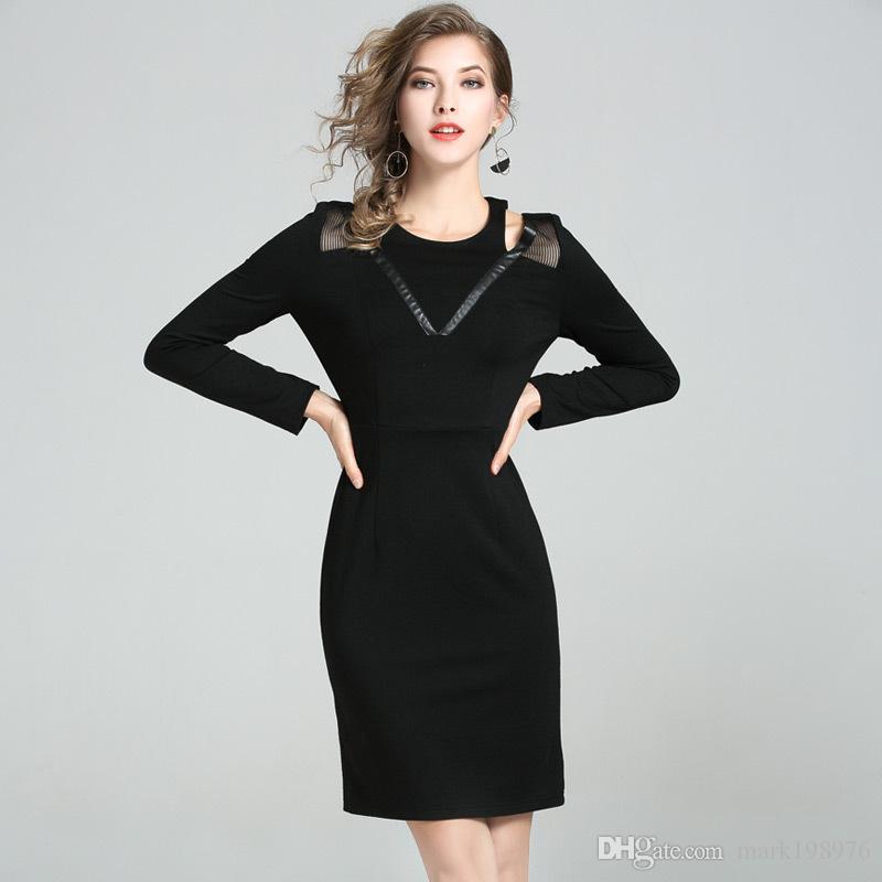 7feb92b93f Compre Nueva Marca De Moda Elegante Vestido De Oficina De Las Mujeres  Vestido De Trabajo Sin Tirantes Atractivo Diseño Europeo Negro Señoras  Vestidos De ...
