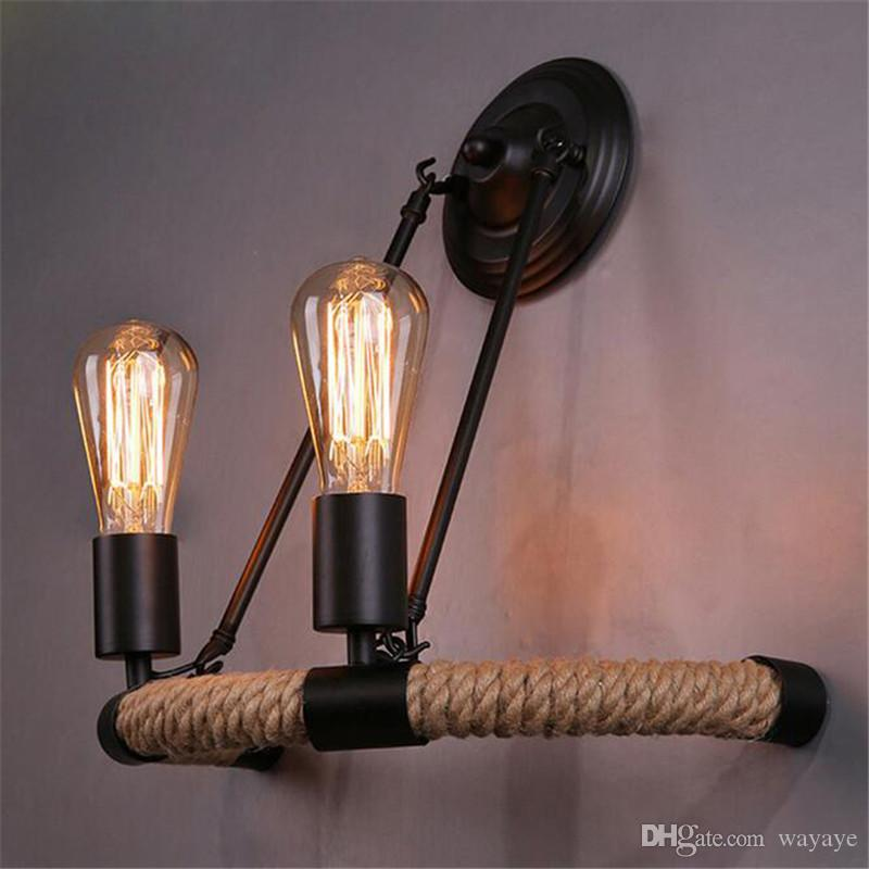 wall lamps for living room. 2018 Vintage Edison Item 2 Head Rope Wall Lamp Bedside Light  For Living Room Bedroom Decoration From Wayaye 60 46 Dhgate Com