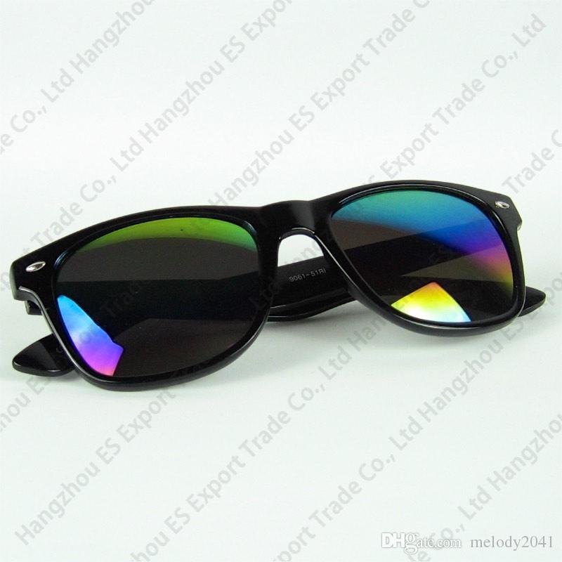 Klare Stock Travel Sonnenbrille Mode Sonnenbrille Kunststoffrahmen Falten Schwarzes und blaues Blumendruck Mix Farben