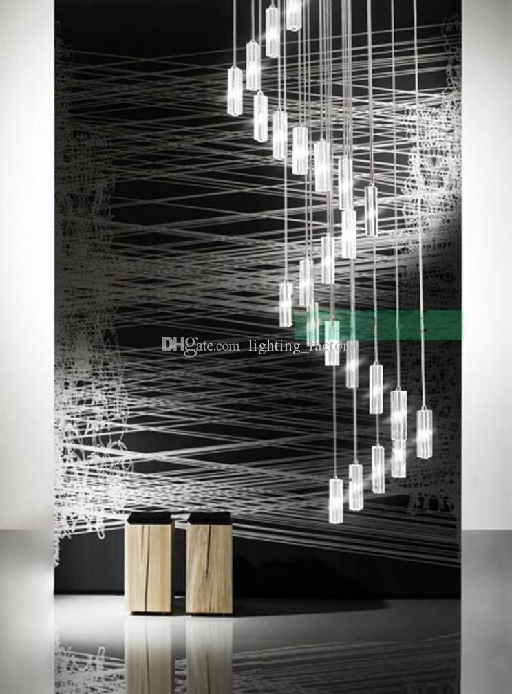 Escalera del hotel de la lámpara moderna del accesorio de iluminación de la lámpara cuadrada gota de lluvia de la iluminación de lámparas de cristal espiral escalera de acero inoxidable