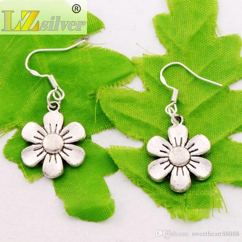 Flower Earrings 925 Silver Fish Ear Hook Antique Silver Dangle Chandelier E338 17.1x38.5mm