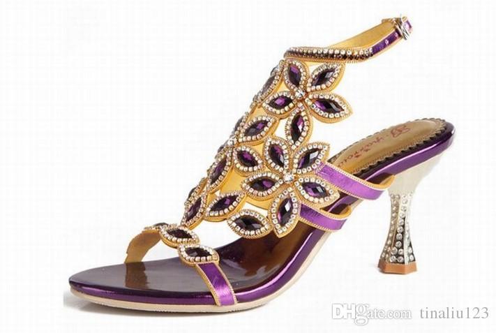 Women Flowers Rhinestone Sandals Fashion High Heels Party Ladies ... bf64e21dac97