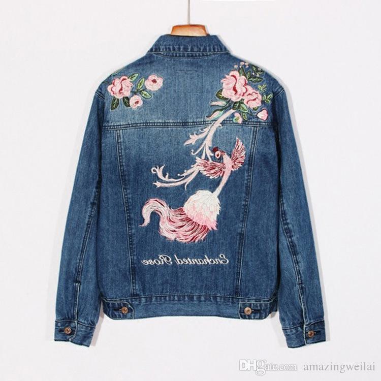 Moda Mavi Güzel Anka Çiçek Nakış Kadın Denim Ceket Ceket Sonbahar Slim Fit Jean Ceket Kızlar Bayanlar Için
