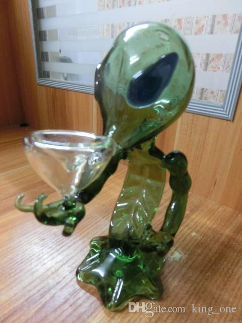 Alien Glass Pipes Glass Smoking Pipe Glass Water Pipes 18cm Height Green G Spot Smoking Pipes