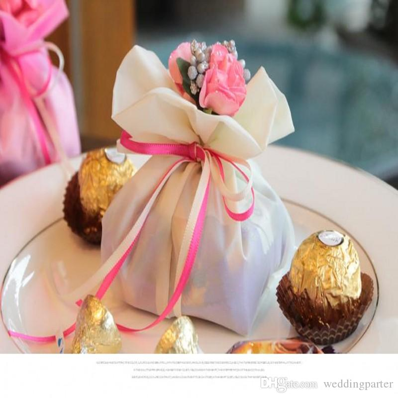 Italian Style Wedding Favor Candy Gift Bags Yarn Pouch With Flower