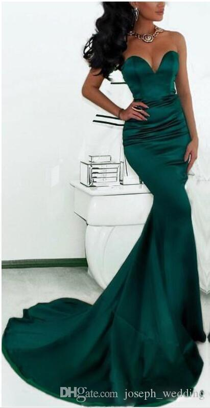 Sexy Mermaid Evening Dresses Long Green Satin Long Gown Sweethe art robe de soiree longue abendkleider 2017
