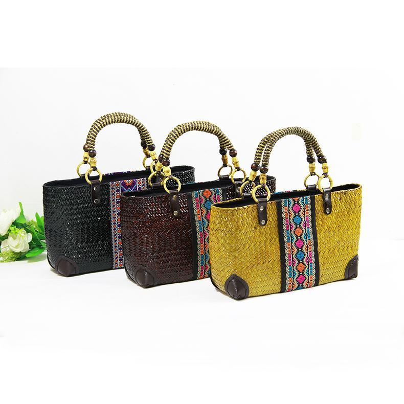 Pure natural seaweed pure hand - woven package fashion leisure travel vacation beach bag women 's handbag wholesale