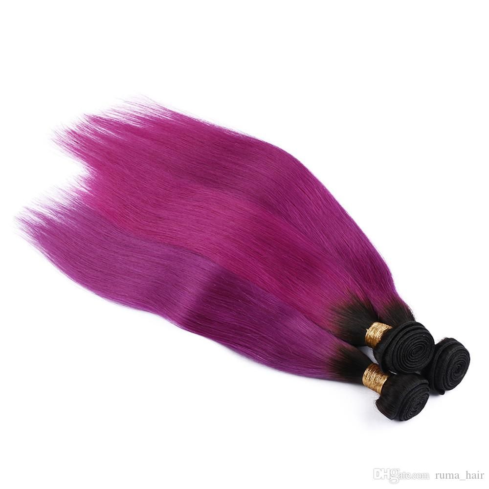 Dark root Ombre Rose Red Cosplay Two Tone Straight Hair Extension 1b Purple Human Hair Bundles Pink Color Cosplay Hair Extension