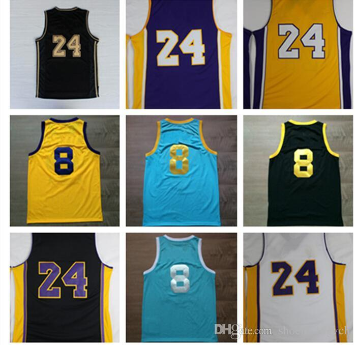 e6c3a255843 Online Cheap 24 Kobe Bryant Jersey 8 Throwback High School Lower Merion 33  Kobe Bryant Retro Shirt Uniform Yellow Purple White Black Blue Red By ...