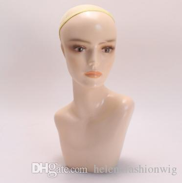 Professional lady training human hair head with shoulders ABS resin female mannequin wig display for wig hair human QM 023