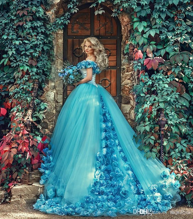 Abiti vintage blu Quinceanera Abito da ballo Fata Fiori fatti a mano Spalle scoperte Tulle Dolce 16 Abiti Abiti da 15 Anos Abiti da compleanno