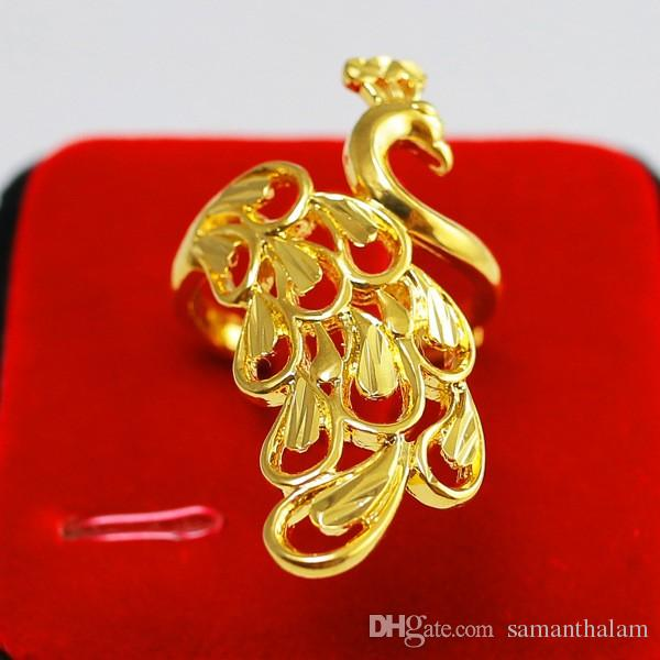 Luxury Peacock Bird Ring Women 18K Yellow Gold Filled Plated Statement Hollow Out Animal Ring Adjustable