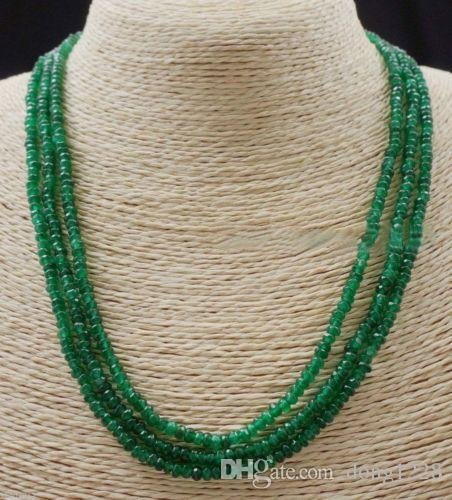 NATURAL 3 Rangées 2X4mm FLEURES VERT EMERALD ABACUS BEADS NECKLACE17-19