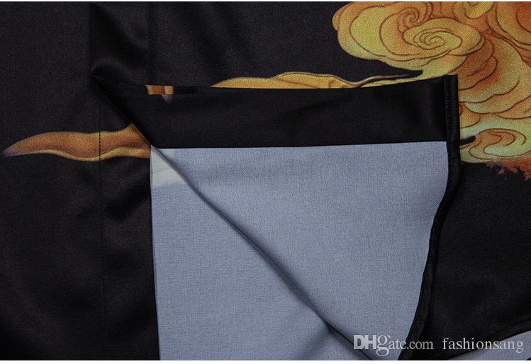 Camicia di stile della porcellana del nuovo uccello degli uomini della stampa 2017 del progettista Camice nera piena del manicotto del marchio i vestiti più di modo di formato del mens