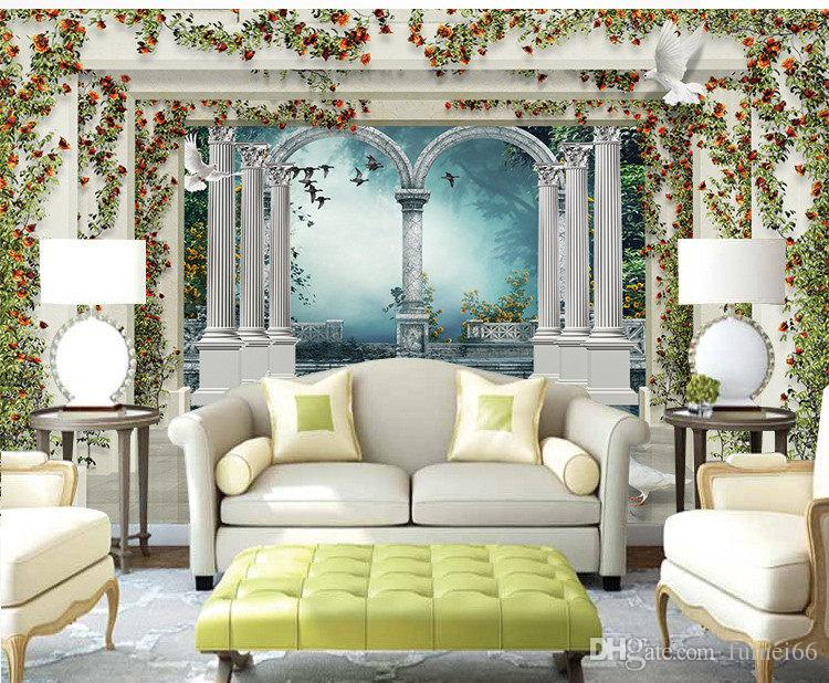 European Landscape Roman Column Garden Rose Tv Background Sofa Creative  Wall 3d Seamless Non Woven Wallpaper Wallpaper Moving Wallpapers Mural  Wallpaper ...