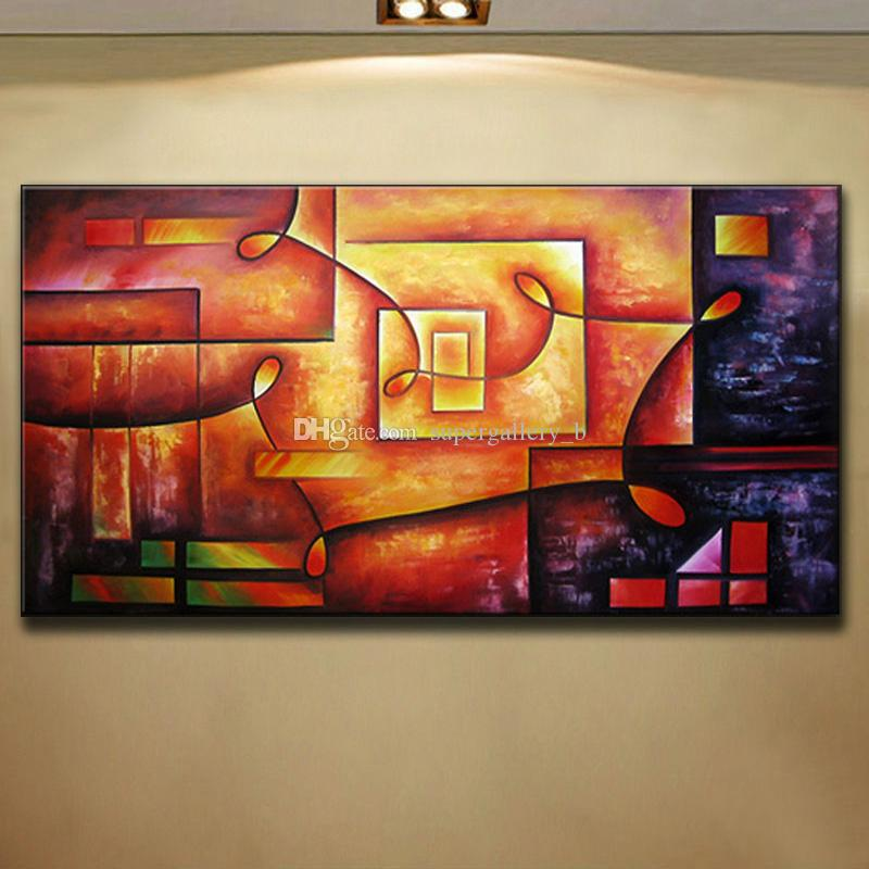2019 Best Selling Passion Color Pure Handcraft Modern Abstract Art