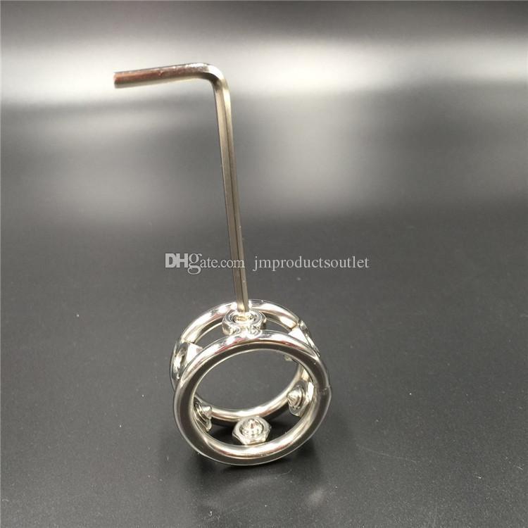 Anneaux de pénis en métal d'anneau de coq en acier inoxydable de 28mm / 30mm / 32mm pour cockring d'hommes avec des pointes de vis pour bdsm