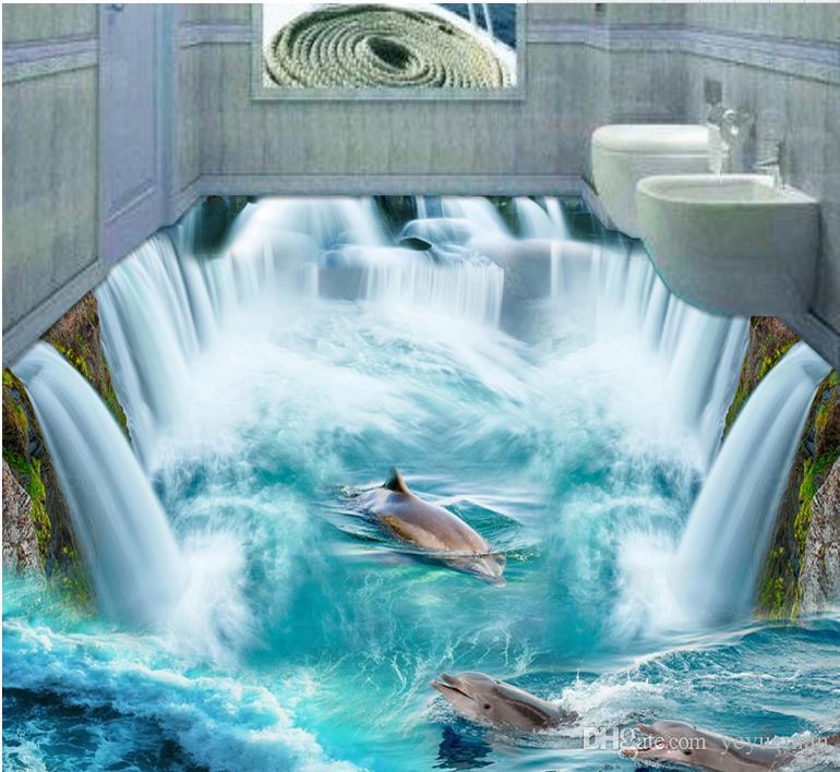 3D Boden Tapeten Wandbilder benutzerdefinierte 3D stereoskopische Wallpaper  Foto Great Falls Beach selbstklebende Tapete 3d Boden Badezimmer ...