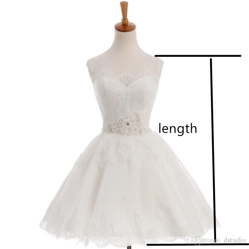 Короткие кружева бальное платье Свадебные платья совок кружева up назад складки тюль свадебные платья цветочные кружева слоновой кости, белый, красный, шампанское