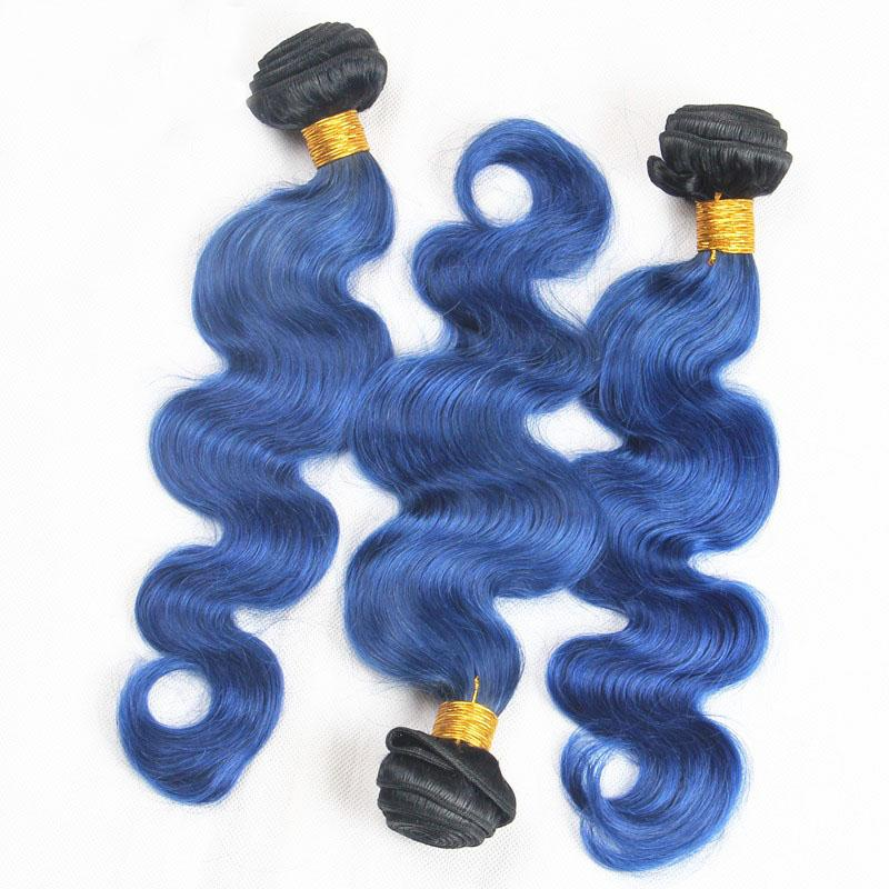 T1b Blue Ombre Peruvian Body Wave Human Hair Bundles With Lace Frontal Two Tone Virgin Hair Weaves With Ear To Ear Lace Closure