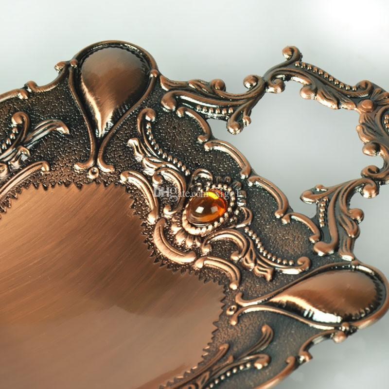 Ücretsiz kargo antik bronz finish çevre dostu çinko alaşım metal meyve tabağı / ev dekorasyon için tepsi
