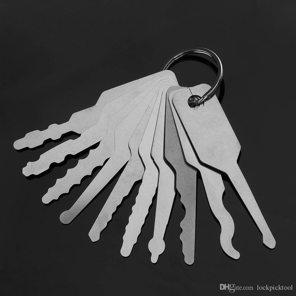10шт Джигглер ключи отмычка набор для двусторонней отмычки инструменты Автомобильные замки Открытие набор инструментов авто слесарь инструмент