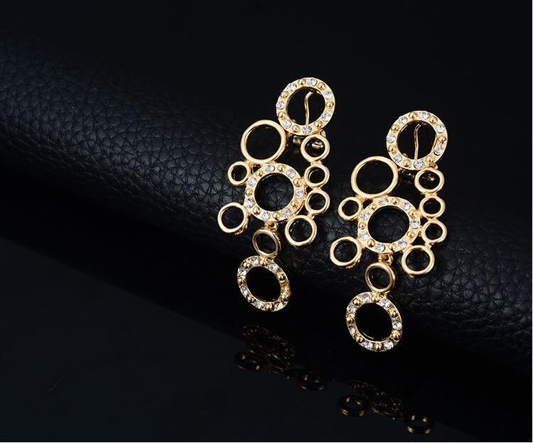 Gold Color Bridal Jewelry Sets Circle Shape Necklace Earrings Ring Bracelet Sets for Women Wedding Party Fashion Jewelry sets