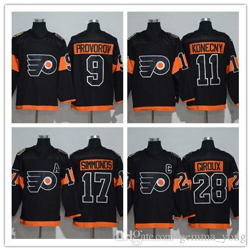 2019 Kids Youth Hockey Jerseys Black Philadelphia Flyers 2017 Stadium  Series 9 Ivan Provorov 17 Wayne Simmonds 28 Claude Giroux 53 Gostisbehere  From ... 5e1157b9a
