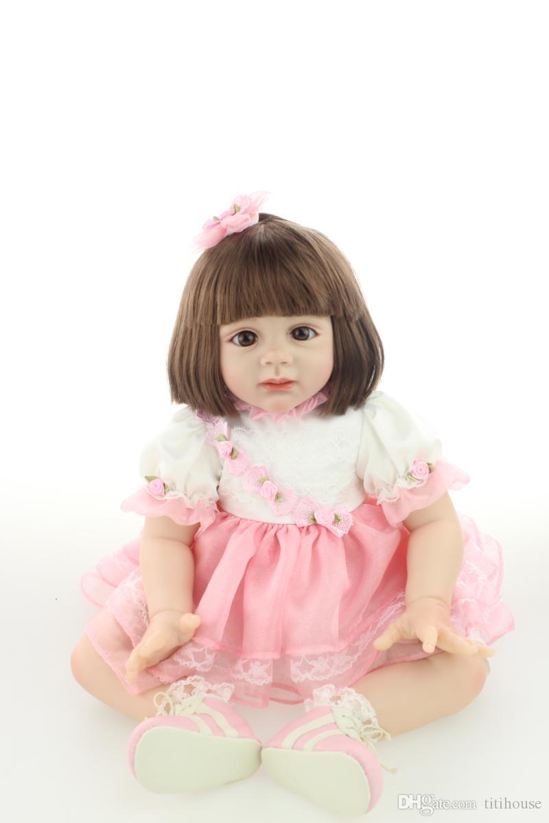 24 Inch Silicone Reborn Baby Doll Sitting Baby Alive Doll Realistic Princess Girl Doll Wearing Sweet Clothes Look Angel