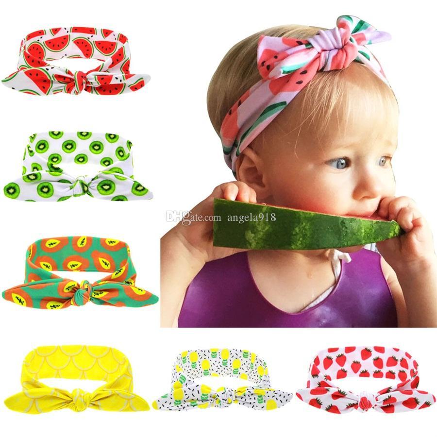Baby Fruit Printing Rabbit Ears Headbands Children Watermelon Strawberry  Pineapple Print Hair Accessories Infant Hair Band Headdress C2336 Leather  Hair ... c5d146ebe58