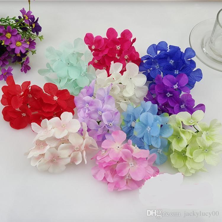 New Arrival Artificial Silk Hydrangea Flower Heads For DIY Wedding Bouquet Hair Corsage Wall Arch Home Party Decoration