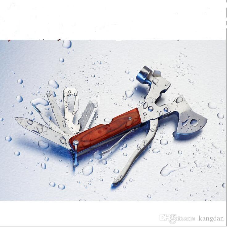 Multi-purpose ferramenta machado alicate sobrevivência ao ar livre faca garrafa abridor de serra carro vida de Emergência martelo 16 in1 bolso ao ar livre mini gadget
