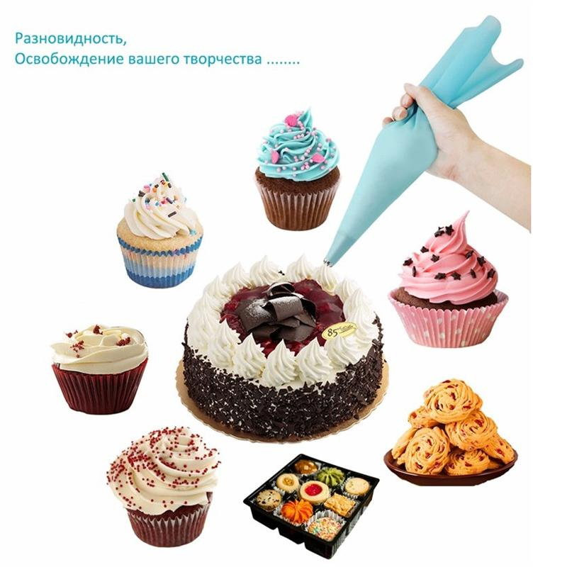 Hot Silicone Icing Piping Bag Pastry Cream + 6 X Stainless Steel Nozzle Set DIY Decoration Tips for Magdalena Fondant Sugarcraft Pastries