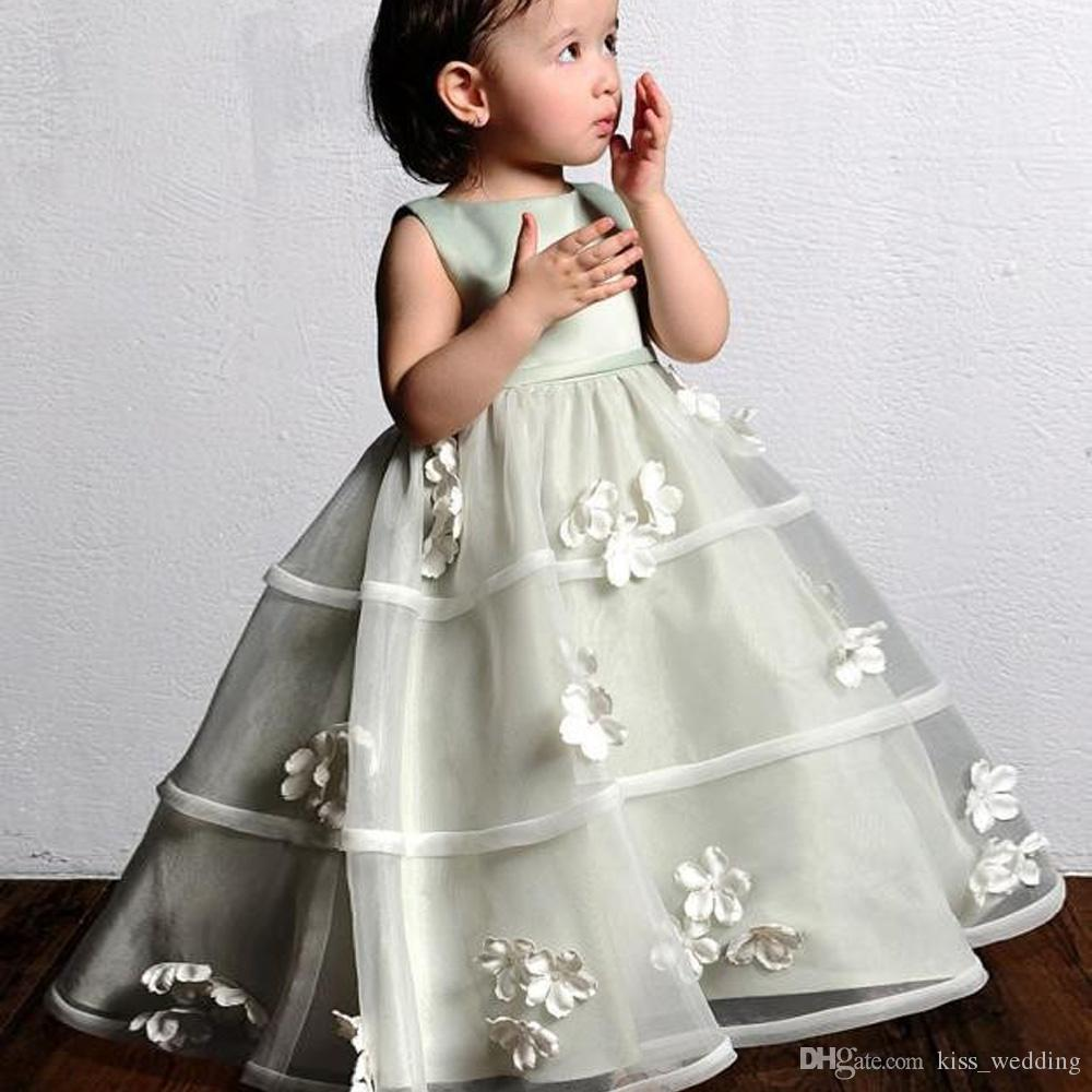 Cute Floor Length Flower Girl Dresses High Quality Organza A Line Toddler Pageant Dress Graduation Gown Kids With 3D Floral Appliques