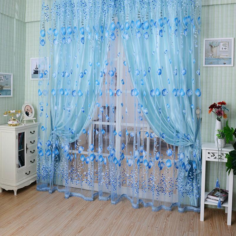 2017 1m2m window curtains sheer voile tulle forroom living room balcony kitchen printed tulip pattern sun shading curtain from zhikuitan 488 dhgate - Blue And White Window Curtains