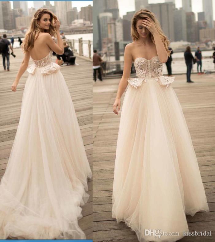 Strapless 2017 Berta Wedding Dresses Cheap Boho Summer Beach Peplum Air Tulle Bridal Gowns Light Champgane Wedding Guest Dress