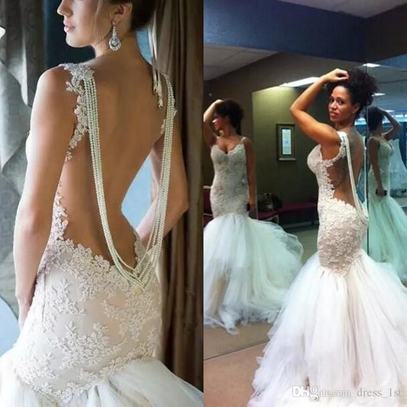 Sexy Illusion Back Lace Mermaid Wedding Dresses 2016 Beading Tulle Ruched Long Bridal Gowns Custom Made China EN8155