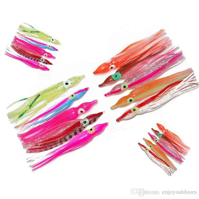 30 unids 10 cm Suave Plástico Pulpo Señuelos de Pesca Para Jigs Color Mezclado Luminoso Pulpo de Silicona Faldas de Pesca Artificial Jigging Bait