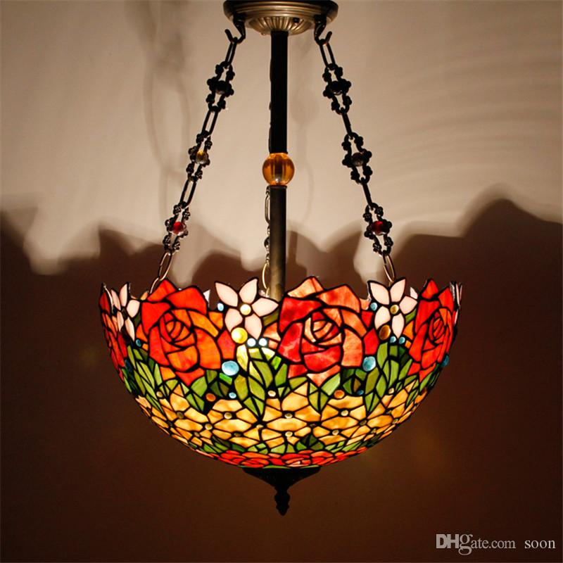 Tiffany pendant lamp antique country style 16 vintage lights stained tiffany pendant lamp antique country style 16 vintage lights stained glass dragonfly flower baroque restaurant kitchen lamp hotel projec interior lighting aloadofball Images